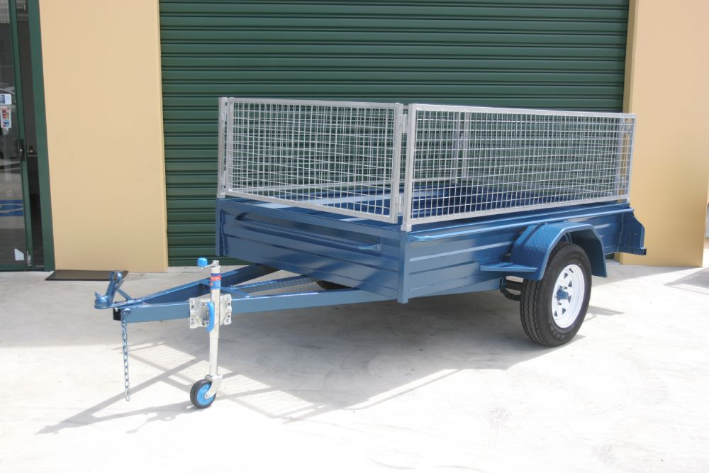 Std height box trailer with cage